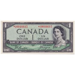 $1.00. 1954 Issue. BC-29bA. No. A/A0016615. Beattie-Coyne. 'Devil's Face. A rare replacement note. C