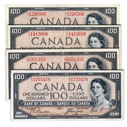 $100.00. 1954 Issue. BC-35a. Coyne-Towers. 'Devil's Face'. Fine to VF, (3 pcs.); BC-35b. Fine+. Lot