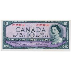 $10.00. 1954 Issue. BC-40bA. Beattie-Rasminsky. No. *U/T0250346. BCS graded Extra Fine-45.
