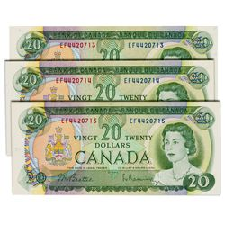 $20.00. 1969 Issue. BC-50a. Beattie-Rasminsky. No.'s EF4420713, 714, 715. All three (3) notes are BC