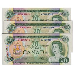 $20.00. 1969 Issue. BC-50b. Lawson-Bouey. No.'s WZ4842094, 2095, 2096. All three (3) notes are BCS g