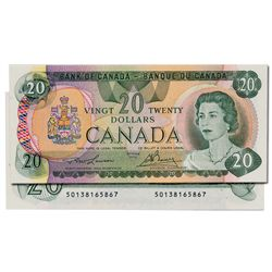 $20.00. 1979 Issue. BC-54a. Lawson-Bouey. No. 50138165867 & 50138165868. Both notes BCS graded Origi