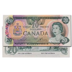 $20.00. 1979 Issue. BC-54a. Lawson-Bouey. No. 50138165864 & 5865. Two (2) consecutive notes. The fir