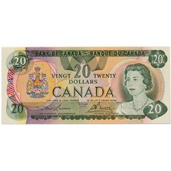 $20.00. 1979 Issue. BC-54a. No. 50000000043. Lawson- Bouey. A scarce low serial numbered note. VF.