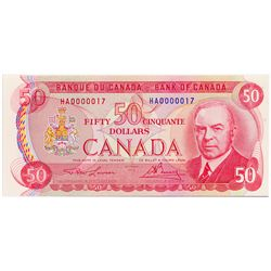 $50.00. 1975 Issue. BC-51a. No. HA0000017. Lawson-Bouey. A Low Serial numbered note. Choice Unc. Ex.