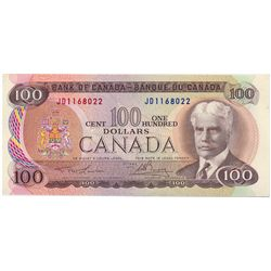 $100.00. 1975 Issue. BC-52a. No. JD1168022. Lawson- Bouey. CCCS graded AU-55. A short series.
