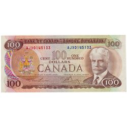 $100.00. 1975 Issue. BC-52aA-i. No. AJX0145133. Lawson- Bouey. PMG graded EF-40. EPQ.