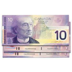 $10.00. 2000 Issue. BC-63aA. Insert notes. Knight-Thiessen. No. FDU9955551, 5552, 5553. Lot of three