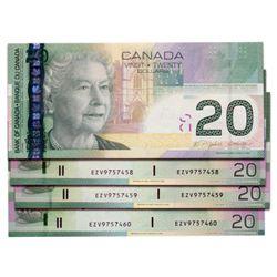 $20.00. 2006 Issue. BC-64aA-i. Insert notes. Jenkins-Dodge. No. EZV9757457, 7458, 7459, 7460. Lot of