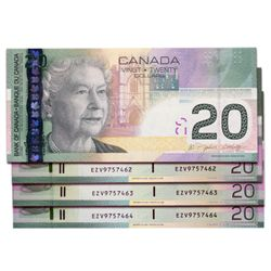 $20.00. 2006 Issue. BC-64aA-i. Insert notes. Jenkins-Dodge. No. EZV9757461, 7462, 7463, 7464. Lot of
