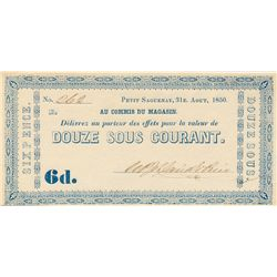 W.P. & DAVID E. PRICE. Petit Sagenuenay. 6d. (12 sous). 1850. CH-QC350-12-06. No. 262. PCGS graded C