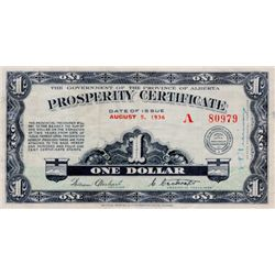 PROVINCE OF ALBERTA. Prosperity Certificate. $1.00. August 5, 1936. No. A80979. CH-A1. 6 stamps on b