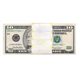 UNITED STATES. $10.00. 1999. No. BB02577301-BB02577400. An original bundle of 100 Crisp Unc. Notes.