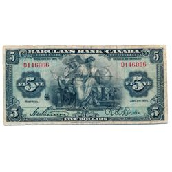 BARCLAY'S BANK (CANADA). $5.00. Jan. 2, 1935. CH-30- 12-06. No. D146066. PMG graded Fine-15.