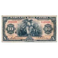 BARCLAY'S BANK (CANADA). $10.00. Jan. 2, 1935. CH-30- 12-06. No. E105859. PCGS graded Fine-12.