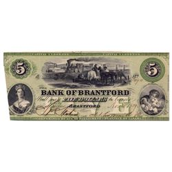 THE BANK OF BRANTFORD. $5.00. Nov. 1, 1859. CH-40-10-02-08a. No. 3494. Brantford Issue. 'Westbrook O