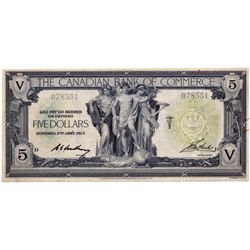 THE CANADIAN BANK OF COMMERCE. $5.00. Jan. 2, 1917. CH-75-16-02-02. Green and red seal. White backgr