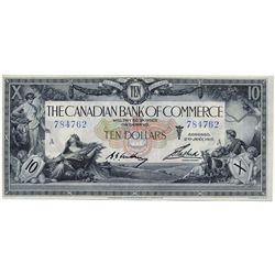 THE CANADIAN BANK OF COMMERCE. $10.00. Jan. 2, 1917. CH-75-16-02-06. White background. No. 784762/A.