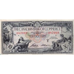 THE CANADIAN BANK OF COMMERCE. $10.00. Jan. 2, 1935. CH-75-18-06. Logan right. No. 087089/A. Small i