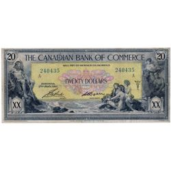THE CANADIAN BANK OF COMMERCE. $20.00. Jan. 2, 1917. CH-75-16-04-20a. No. 240435/A. Small Logan. Yel