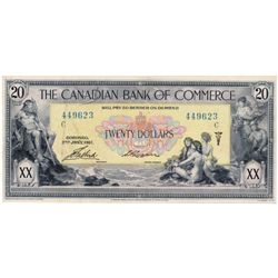 THE CANADIAN BANK OF COMMERCE. $20.00. Jan. 2, 1917. CH-75-16-04-20a. Small Logan. Yellow tint. No.