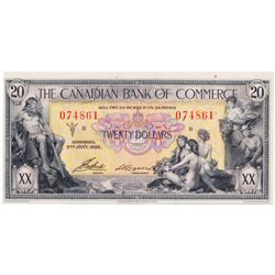THE CANADIAN BANK OF COMMERCE. $20.00. Jan. 2, 1917. CH-75-18-10. Logan, right. No. 074861/B. Extra