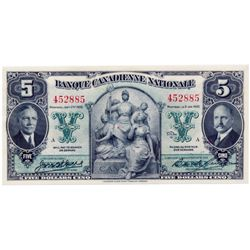 BANQUE CANADIENNE NATIONALE. $5.00. Jan. 2, 1935. CH-85-14-02. No. 452885/A. Unc.