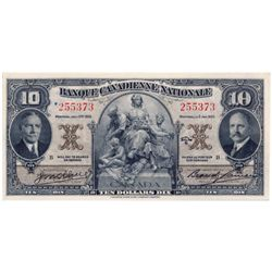 BANQUE CANADIENNE NATIONALE. $10.00. Jan. 1, 1935. CH-85-14-04. No. 255373/B. PCGS graded Ch. AU-55.