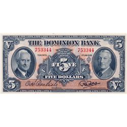 THE DOMINION BANK. $5.00. Jan. 3, 1938. CH-220-28-02. No. 753344. PCGS graded Ch. AU-58 PPQ.