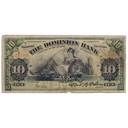 THE DOMINION BANK. $10.00. Jan. 3, 1910. CH-220-18-04. Manuscript signature. PMG graded Very Good-10