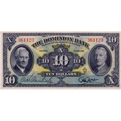 THE DOMINION BANK. $10.00. Jan. 2, 1938. CH-220-28-04. No. 361123. Crisp Unc.