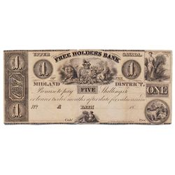 THE FREEHOLDERS BANK OF THE MIDLAND DISTRICT. $1.00. No date, (c-1837). CH-310-10-02R. A Remainder.