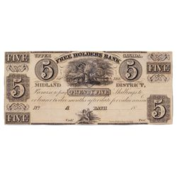 THE FREEHOLDERS BANK OF THE MIDLAND DISTRICT. $5.00. No date, (c-1837). CH-310-10-04R. A Remainder.