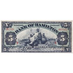 "THE BANK OF HAMILTON. $5.00. June 1, 1909. CH-345-20-02. No. 667718. PMG graded Very Fine-25. ""E...E"