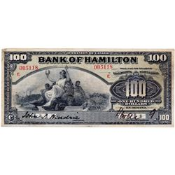 "THE BANK OF HAMILTON. $100.00. June 1, 1909. CH-345-0-26. No. 005118. ""E...E"" overprint in red. PMG"