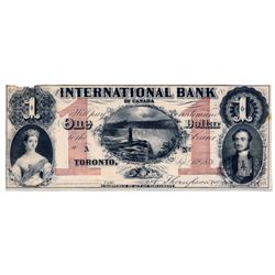 THE INTERNATIONAL BANK OF CANADA. $1.00. Sept. 15, 1858. Thompson, right. CH-380-10-04-02R. Falls. A