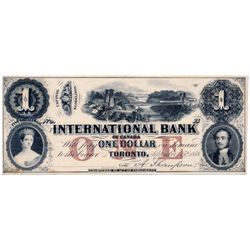 THE INTERNATIONAL BANK OF CANADA. $1.00. Sept. 15, 1858. Thompson, right. CH-380-10-04-04R. Bridge.