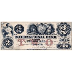 THE INTERNATIONAL BANK OF CANADA. $2.00. Sept. 15, 1858. Thompson, right. CH-380-10-04-06R. A Remain