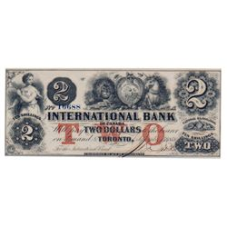 THE INTERNATIONAL BANK OF CANADA. $2.00. Sept. 15, 1858. CH-380-10-10-12a. Fitch signature. Large bl