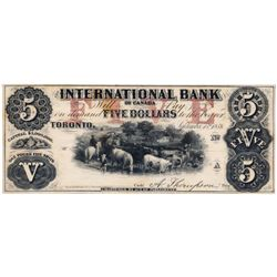 THE INTERNATIONAL BANK OF CANADA. $5.00. Sept. 15, 1858. Thompson, right. CH-380-10-04-08R. A Remain