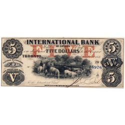 THE INTERNATIONAL BANK OF CANADA. $5.00. Sept. 15, 1858. CH-380-10-10-16a. Fitch, right. Red 'word'