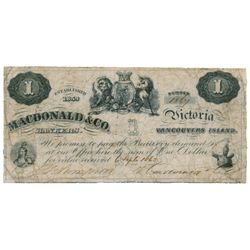 MACDONALD & CO. $1.00. Sept. 6, 1863. CH-420-10-02. No. 1864. Signed Thompson-Macdonald. BCS graded