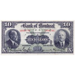 THE BANK OF MONTREAL. $10.00. Jan. 2, 1923. CH-505- 56-04. No. 3096796/A. PCGS graded Very Fine-35.