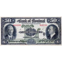 THE BANK OF MONTREAL. $50.00. Jan. 2, 1931. CH-505-58-08. No. 016229/A. Dodds/Gordon. PMG graded Ver