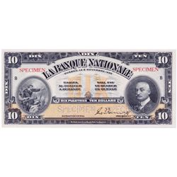 LA BANQUE NATIONALE. $10.00. Nov. 2, 1922. CH-510-22- 04S. Specimen. BCS graded Original Choice Unc-