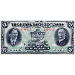 THE ROYAL BANK OF CANADA. $5.00. Jan. 3, 1927. CH-630-14-04. Wilson, left. No. 2576345/A. A well-cen