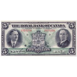 THE ROYAL BANK OF CANADA. $5.00. Jan. 3, 1927. CH-630- 14-04. No. 2575250/D. Wilson, left. Choice AU