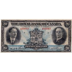 THE ROYAL BANK OF CANADA. $20.00. Jan. 3, 1927. CH-630-14-12. No. 489093/A. Wilson, left. PCGS grade