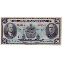 THE ROYAL BANK OF CANADA. $20.00. Jan. 2, 1935. CH-630-18-06a. Lg. sign. No. 168769/B. PCGS graded V