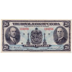 THE ROYAL BANK OF CANADA. $20.00. Jan. 2, 1935. CH-630-18-06a. Lg. sign. No. 116256/D. PCGS graded A